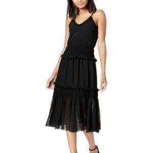 Maison Jules Smocked Fit Flare Midi Dress Black L